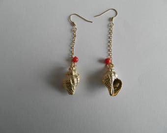 For gold shell earrings