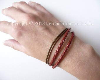 DESTASH Bracelet double braided red leather and chain