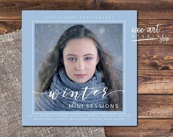 Photography Winter Mini Session Template for Photographers 5x5, White
