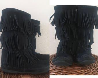 vintage BLACK FRINGE MINNETONKA mid-calf suede boots - moccasin, 8.5, 9