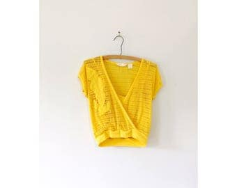 Vintage 1980s mesh top embroidered, yellow