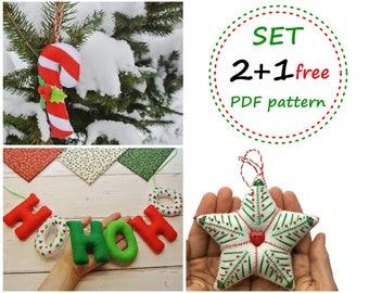 Felt Christmas Ornament Patterns, Felt Patterns, Felt Star, Felt Candy, Felt Christmas Banner HoHoHo, Felt Banner, Christmas Star Pattern