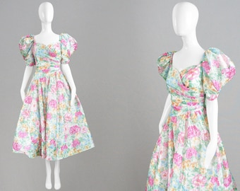 Vintage 80s Prom Dress Huge Puff Sleeves Floral Evening Dress Sweetheart Neckline Full Skirt Asymmetric Dress Fairytale Princess Romantic