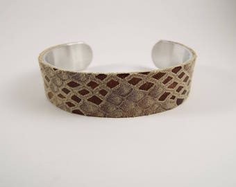 "Leather .5"" Cuff Metallic Adjustable Bracelet Python Look Browns Creams Bronze"