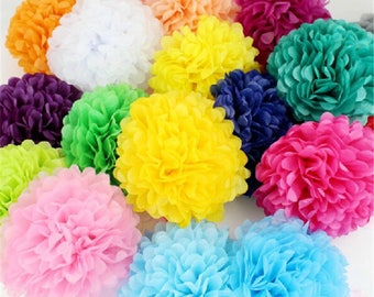 15 Tissue Paper Pom Pom Flower Balls Wedding Party Decor Mixed Size/Colours