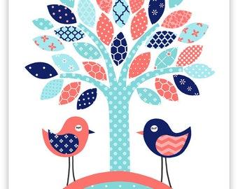 Bird Nursery Decor, Baby Bird Print, Nursery Wall Art, Baby Girl Decor, Girl Room Wall Art, Bird Art Print, Baby Art Print, Baby Shower Gift
