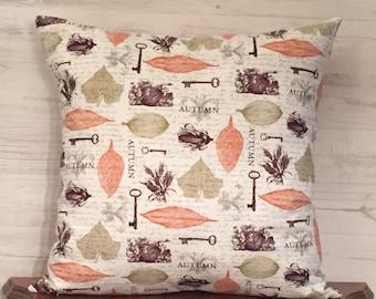 Fall Pillow cover - fall decor - autumn pillow - autumn decor - leaf pillow - 16 x 16 pillow - seasonal pillow cover