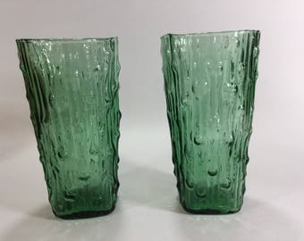 1960s green bamboo textured drinking glasses