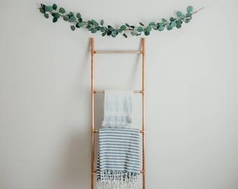 blanket ladder, copper and wood blanket ladder