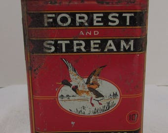 Vintage Forest And Stream Pocket Tobacco Tin Can Advertising Mallard Duck Flying