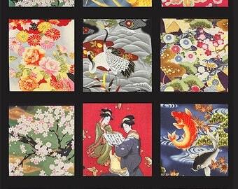 "18 Block Design Asian Japanese Kona Bay Fabric Panel (24"" x 44"")"