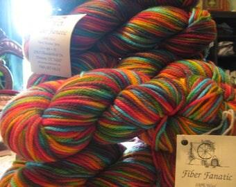 5 skeins Fiber Fanatic 100% Wool Hand Dyed Yarn