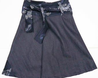 organic denim skirt with lace closure and inserts