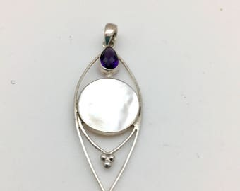 Mother of Pearl and Amethyst Pendant