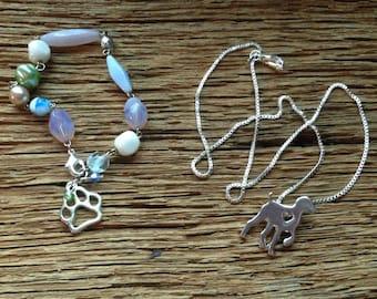Pointing bird dog necklace and bracelet set: sport dog necklace and dog paw bracelet, short haired pointer bracelet,Weimaraner necklace, dog
