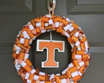 Tennessee Vols rolled ribbon wreath: UT Volunteers orange and white wreath, Tennessee wreath, Tennessee door hanger, UT Vols decor