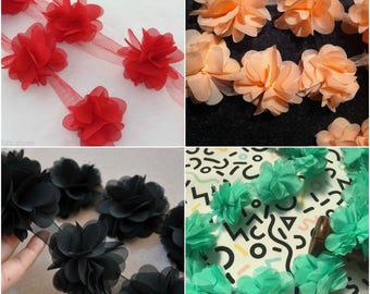 Flower Rose Petals Chiffon Leaves Trim Wedding Dress Bridal Lace Fabric by Yard