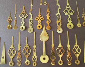 12 Pairs of Assorted Brass Clock Hands for your Clock Projects - Jewelry Making - Steampunk Art - Crafts & Etc..