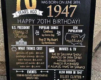 PRINTED 70th birthday poster, Back in 1947, What Happened in 1947, 70th Birthday Decorations, Black and Gold, 70th Party Decor, Vintage 1947
