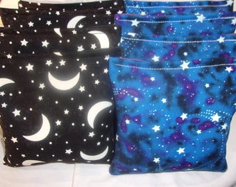 8 ACA Regulation Cornhole Bags -  4 Glow in the Dark Moons and 4 Glow in the Dark Stars