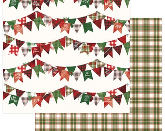 2 Sheets of Photo Play MAD 4 PLAID CHRISTMAS 12x12 Scrapbook Cardstock Paper - Joy