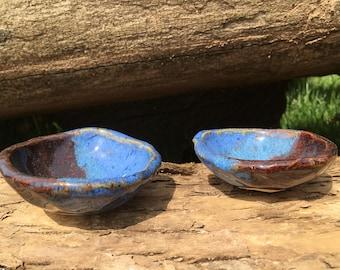 Set of 2 Small Ceramic Cobalt and Mahogany Dipping Dish
