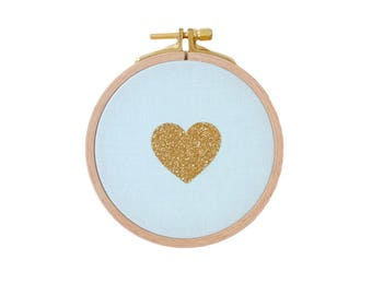 Heart shaped Wall frame - Mint and Gold Glitter - Valentine Day - House - Houseware - Decoration - Love - Christmas