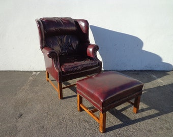 Handsome Tufted Leather Wingback Chair Armchair Matching Ottoman Footrest Chesterfield Sofa Chippendale Lounge Set Oxblood Loveseat English