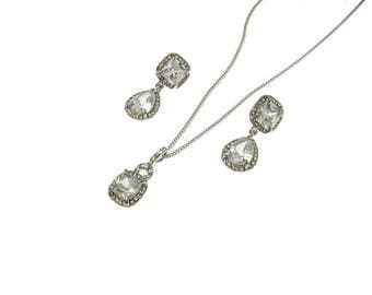 Sale-CZ Pendant Necklace and Earrings Set, Pear Shape Cubic Zirconia Jewelry Set,, Wedding Jewelry set, Prom Jewelry Set, Silver,Gold
