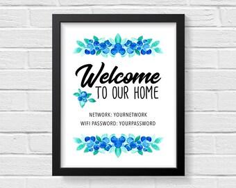 Wifi Printable Password, Wifi Password Sign, Wifi Sign Printable, Guest Room Sign, Wifi Print, Welcome to our Home, Custom Print