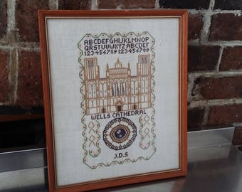 Vintage Sampler / Tapestry Wells Cathedral Historic Building