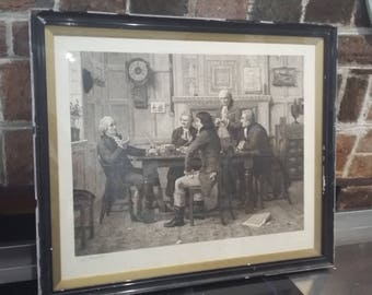 Large Black and White Limited Edition Signed Print HS Marks 1885 Men in Meeting