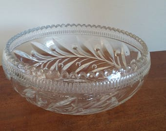 Vintage Retro Pressed Glass Fruit Bowl