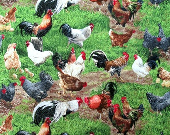 Realistic Chickens Farm Animals Elizabeth's Studio #6051 By the Yard