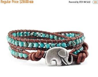 SALE Leather Wrap Bracelet, Beaded Wrap Bracelet, Crazy Lace Agate Gemstones, Elephant Button, Blue Beaded Jewelry