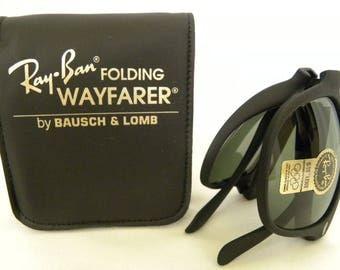 16267bba707 New Vintage B L Ray Ban Wayfarer Folding Matte Black W0670 G-15 50mm  Sunglasses USA
