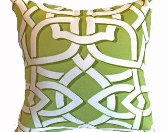 Pillow Pillows Cover Outdoor Indoor - Green White Throw pillow Accent Decor Patio