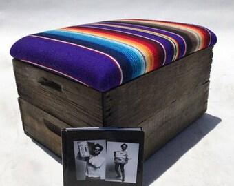 Upholstered Wooden Crate Ottoman - Purple Rain
