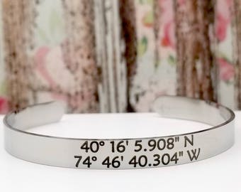Coordinates cuff latitude and longitude stainless steel bracelet with custom inside option, location, gps, first home, vacation, alma mater
