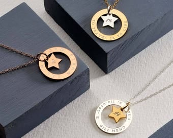 Personalised Star Halo Necklace - Large Circle Necklace 25mm - Personalised Necklace - Message Necklace - Anniversary Necklace
