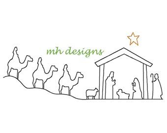 Vintage stitch Christmas nativity embroidery design, Quick stitch manger scene, Baby Jesus embroidery file, Christmas  embroidery design