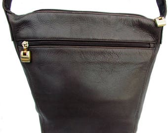 Jacqueline Ferrar Purse Distressed Dark Brown Full Grain Leather Bag Bucket Crossbody Boho Shoulder Bag Hippie Chic Handbag