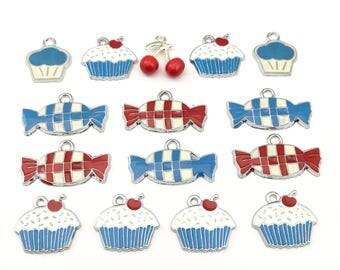 15 cupcake and candy charms,enamel and silver tone / 16mm to 18mm #CH 153