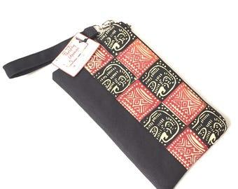 elephant wristlet, african bag, clutch purse, clutch bag, evening clutch bags for women, african purse, iphone wristlet, cellphone wristlet
