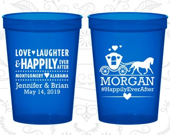 Love Laughter Cups, Custom Drink Cups, Fairy Tale Wedding Cups, Princess Carriage, logo cups (552)