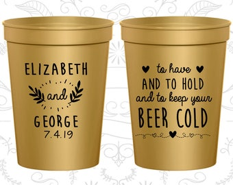 Gold Stadium Cups, Gold Cups, Gold Party Cups, Gold Wedding Cups (281)