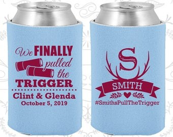 We finally pulled the trigger, Personalized Wedding Gift, Shotgun Wedding Gift, Antler Wedding Gift, Antler Favors, Custom Coolies (564)