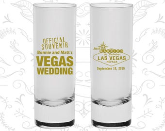 Las Vegas Wedding, Printed Shooter Glass, Just Married Shooters, Official Souvenir Vegas Wedding, Las Vegas Sign, Tall Shot Glass (66)