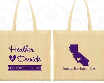 Canvas Tote, State of California, Personalized Wedding Tote Bags, Wedding Favors, Personalized Bags, Custom Cotton Bags (C104)