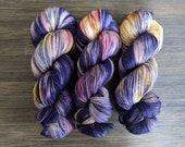 Hand Dyed Yarn - 'Music of the Night' - Superwash Merino/Nylon - purple pink yellow orange 420 yards